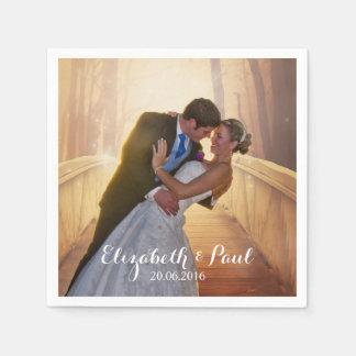 Serviette En Papier Photo de mariage personnalisée
