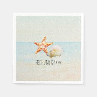 Serviette En Papier Plage tropicale avec les étoiles de mer et la