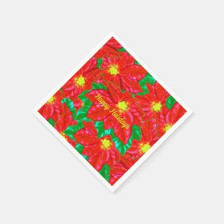 Serviette En Papier Poinsettias oranges rouges