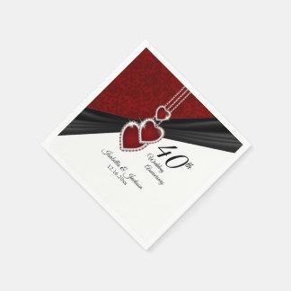 Serviette En Papier quarantième Anniversaire de mariage rouge