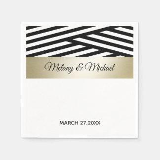 Serviette En Papier Rayure chique moderne or noir/blanc géométrique