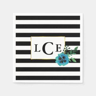 Serviette En Papier Rayure noire et serviette florale bleue de