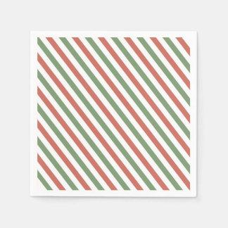 Serviette En Papier Rayures rouges, blanches et vertes de vacances