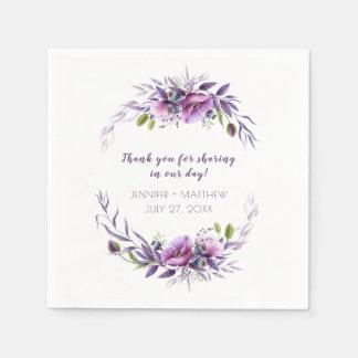 Serviette En Papier Réception pourpre violette de fleurs sauvages de