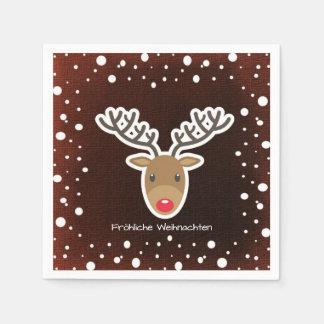 Serviette En Papier Renne et neige sur Fröhliche rouge Weihnachten