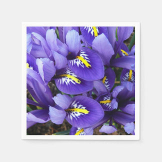 Serviette En Papier Ressort bleu miniature d'iris floral