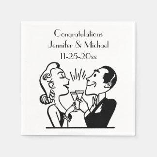 Serviette En Papier Rétro anniversaire de mariage de Champagne de