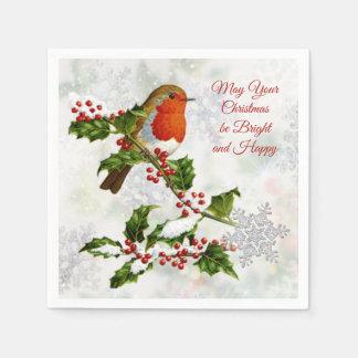 Serviette En Papier Robin vintage, houx, flocon de neige