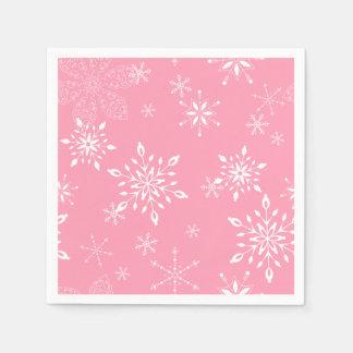 Serviette En Papier Rose de flocons de neige
