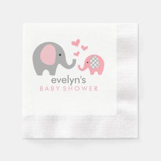 Serviette En Papier Rose de serviettes de baby shower d'éléphant de