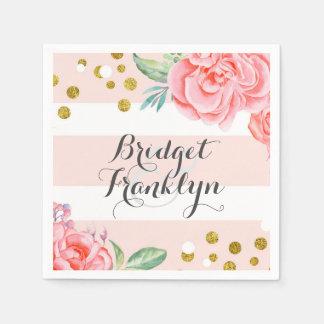 Serviette En Papier rose et mariage floral de confettis de rayures