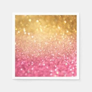 Serviette En Papier rose et regard de scintillement d'or