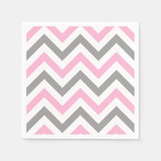 Serviette en papier rose motif de zigzag blanc gris du dk - Serviette en papier motif ...