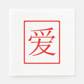 Serviette En Papier Rouge chinois d'amour