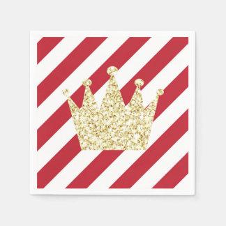 Serviette En Papier Rouge et prince Crown Napkins d'or