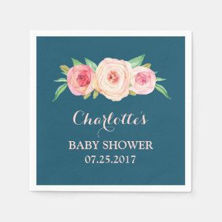 Serviette En Papier Rougissent le baby shower floral de bleu marine