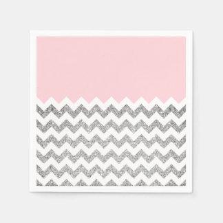Serviette En Papier Scintillement rose et argenté Chevron de Faux