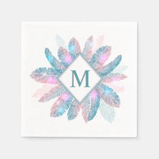 Serviette En Papier Serviette colorée de monogramme de cadre de plumes
