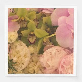 Serviette En Papier Serviette de papier d'orchidée et de pivoine