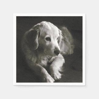 Serviette En Papier Serviette triste noire et blanche du chien |