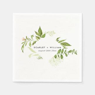 Serviette En Papier Serviette verte sauvage de mariage de feuillage
