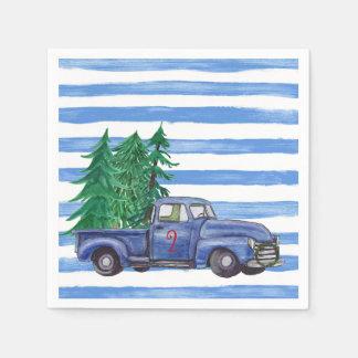 Serviette En Papier Serviettes bleues de Noël de camion faites sur