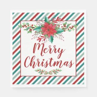 Serviette En Papier Serviettes classiques de vacances de photo de Noël