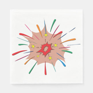 Serviette En Papier Serviettes de papier de feux d'artifice colorés
