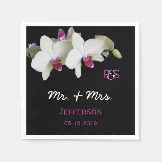 Serviette En Papier Serviettes de papier de mariage floral d'orchidée