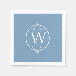 Serviette En Papier Serviettes de papier de monogramme blanc bleu de