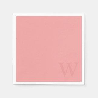 Serviette En Papier Serviettes de papier de monogramme de rose saumoné