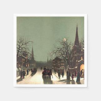 Serviette En Papier Serviettes de papier de Noël de scène vintage