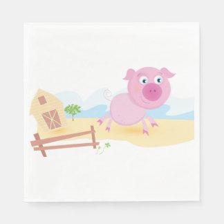 Serviette En Papier Serviettes de papier de porc rose de ferme