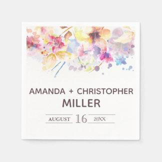 Serviette En Papier Serviettes florales en pastel de l'aquarelle  
