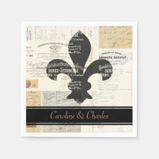 Serviette En Papier Serviettes françaises de mariage de Fleur de Lis