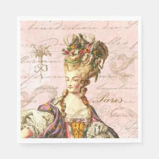 Serviette En Papier Serviettes françaises roses de partie de manuscrit