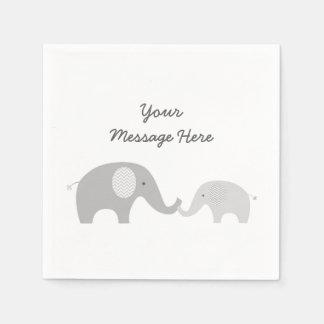 Serviette En Papier Serviettes mignonnes d'éléphant grises et blanches