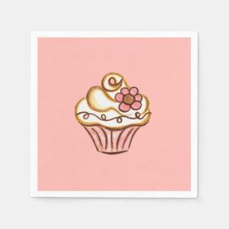 Serviette En Papier Serviettes roses de petit gâteau