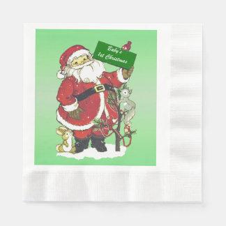 Serviette En Papier Signe mignon de Père Noël de premier Noël du bébé