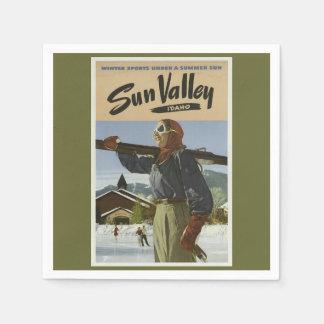 Serviette En Papier Ski vintage de voyage