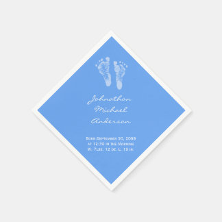 Serviette En Papier Son un faire-part de naissance d'empreintes de pas