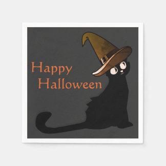 Serviette En Papier Sorcière heureuse de chat de Halloween -