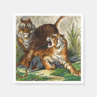 Serviette En Papier Tigre féroce rayé asiatique vintage