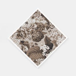 Serviette En Papier Tissu floral vintage No.1 de Brown Toile de sépia