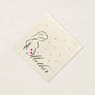 Serviette En Papier Une future mère enceinte avec les coeurs roses