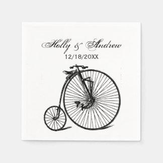 Serviette En Papier Vélo vintage de bicyclette de vélo sur rail