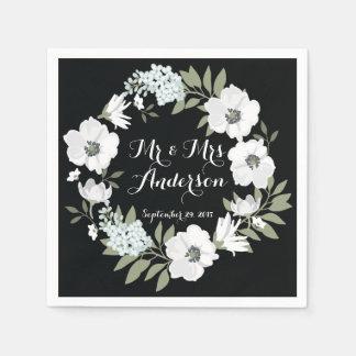 Serviette florale blanche noire de mariage de serviette en papier