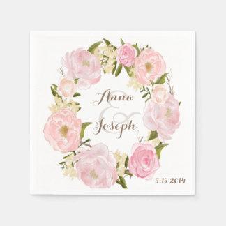Serviette florale romantique de mariage de serviette jetable