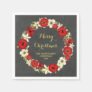 Serviette florale rouge de Noël de guirlande de Serviettes En Papier