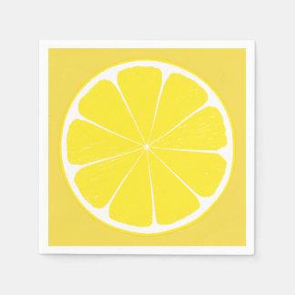 Serviette jaune lumineuse de tranche d'agrumes de serviettes en papier